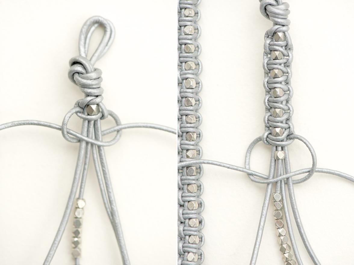 Brazaletes de piel en plata y oro