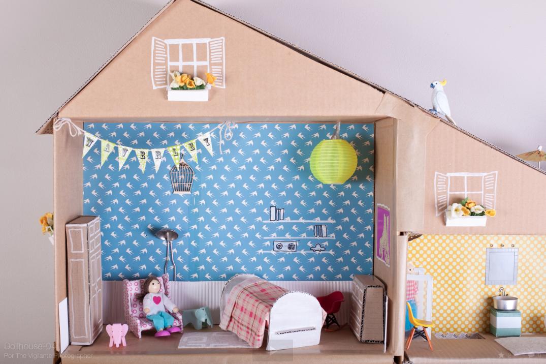 diy casa de muñecas, dormitorio