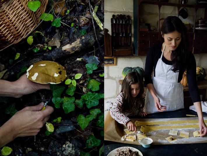 raviolis rellenos de carrilleras y ceps